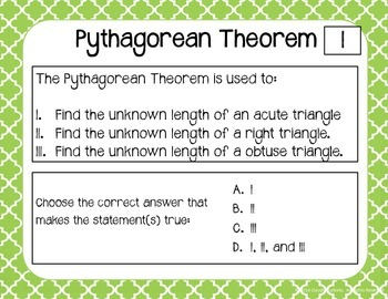 Pythagorean Theorem Task Cards
