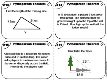 Pythagorean Theorem Task Cards/ Pythagorean Theorem Word Problems Task Cards