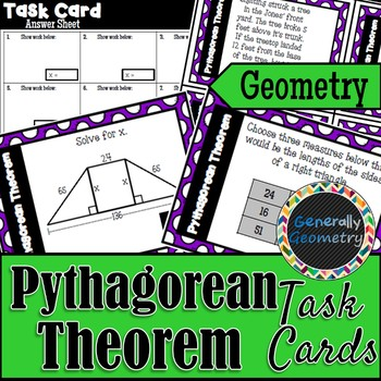 Pythagorean Theorem Task Cards; Right Triangles, Geometry