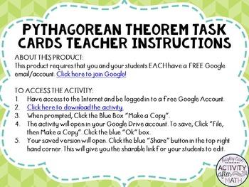 Pythagorean Theorem Task Cards with QR Codes GOOGLE Slide Version