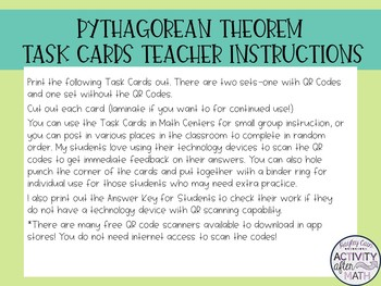 Pythagorean Theorem Task Cards with QR Codes
