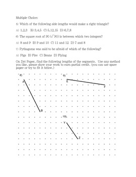 Pythagorean Theorem Test for Grade 8 students (or Grade 9 Geometry class)