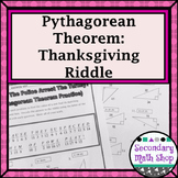 Right Triangles - Pythagorean Theorem Thanksgiving Riddle Worksheet