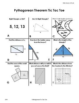 Pythagorean Theorem Tic Tac Toe TEKS 8.6c, 8.7c,8.7d