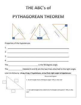 Pythagorean Theorem Triangle Part Sheet
