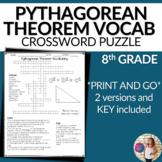 Pythagorean Theorem Vocabulary Math Crossword Puzzle