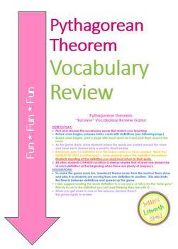 """Pythagorean Theorem Vocabulary """"Survivor"""" Review Game"""