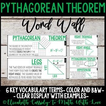 Pythagorean Theorem Vocabulary Word Wall