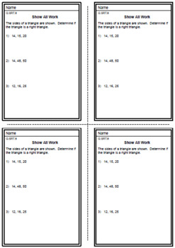 """FREE DOWNLOADS:  PYTHAGOREAN THEOREM EXIT TICKETS OR """"DO NOWS"""""""