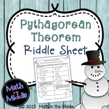 Pythagorean Theorem Winter Riddle Sheet