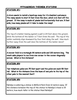 Pythagorean Theorem Word Problem Stations