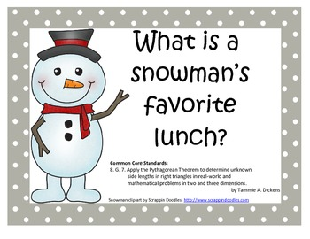 Pythagorean Theorem Word Problem Snowman Riddle