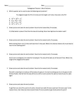Pythagorean Theorem Word Problems