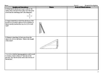 Pythagorean Theorem Word Problems Activity