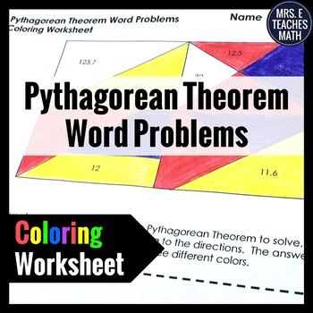 pythagorean theorem word problems coloring worksheet by mrs e teaches math. Black Bedroom Furniture Sets. Home Design Ideas