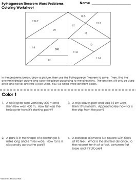 Pythagorean Theorem Word Problems Coloring Worksheet
