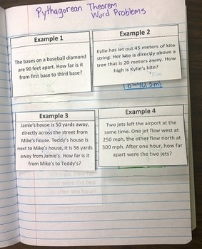 Pythagorean Theorem Word Problems Foldable Notes SOL 8.10b