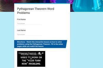 Pythagorean Theorem Word Problems (Google Form & Interactive Video Lesson!)