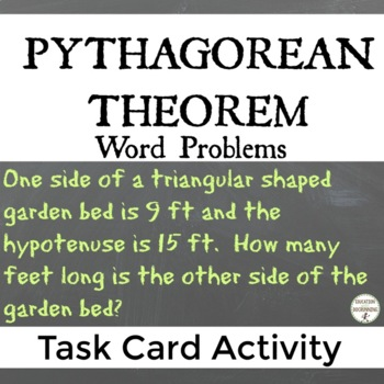 Pythagorean Theorem Word Problems Task Card Activity