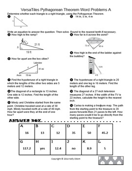 Math Worksheets Pythagorean Theorem Freeable Word Problems Drills ...