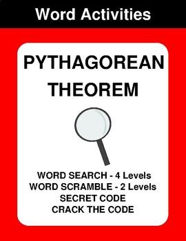 Pythagorean Theorem - Word Search, Word Scramble,  Secret Code,  Crack the Code