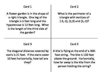 Pythagorean Theorem Word / Story Problem Task Cards