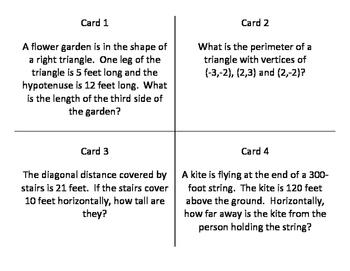 Pythagorean Theorem Word / Story Problem Task Cards