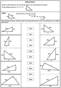 Pythagorean Theorem Worksheet.