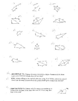 Pythagorean Theorem Worksheet Geometry Double Sided