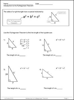 Pythagorean Theorem Worksheet Pack