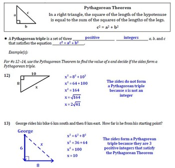 Pythagorean Theorem and Converse Guided Notes for Right Triangles (Geometry)