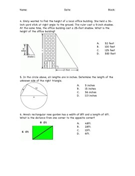 Pythagorean Theorem and Distance Formula Practice