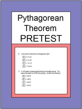 Pythagorean Theorem and Its Converse PreTest & Partner Pai