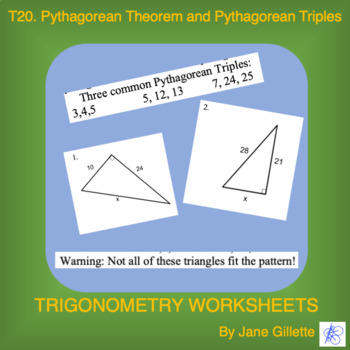 Pythagorean Theorem and Pythagorean Triples by Jane Gillette | TpT