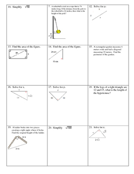 Pythagorean Theorem and Radicals practice