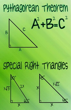 Pythagorean Theorem and Special Right Triangles Poster
