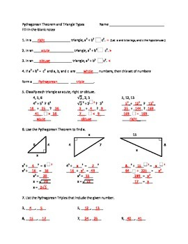 Pythagorean Theorem and Triangle Types - Fill in the blank notes