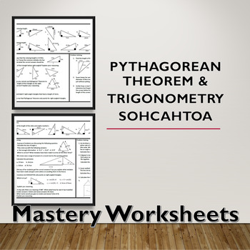 Pythagorean Theorem and Trigonometry SOHCAHTOA Problem Solving Mastery Worksheet