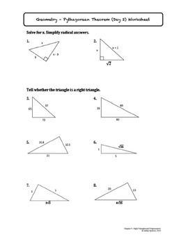 Pythagorean Theorem and its Converse Lesson with Homework ...