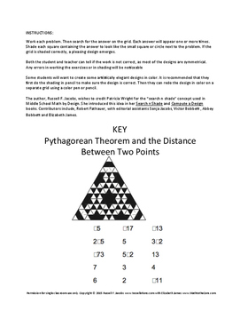 Pythagorean Theorem and the Distance Between Two Points Search and Shade 8.G.B.6