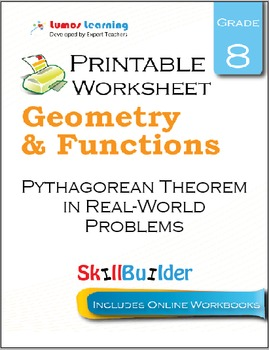 Pythagorean Theorem in Real-World Problems Printable Worksheet, Grade 8