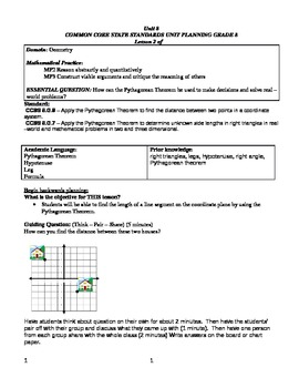 Pythagorean Theorem on a Coordinate Plane - Lesson Plan & Activity