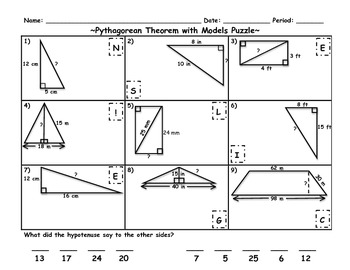 pythagorean theorem with models puzzle riddle activity by jessica eaton. Black Bedroom Furniture Sets. Home Design Ideas