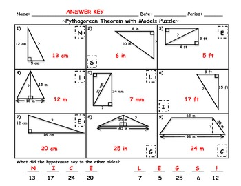 Pythagorean Theorem with Models Puzzle Riddle Activity