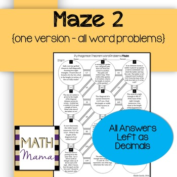 Pythagorean Theorem With Word Problems Mazes By The Math Series