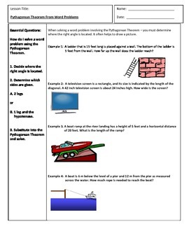 Pythagorean Theorem Word Problems Teaching Resources | Teachers ...