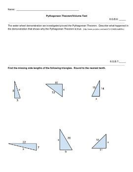 Pythagorean Theorem/Volume Test - 8.G.6 - 8.G.9