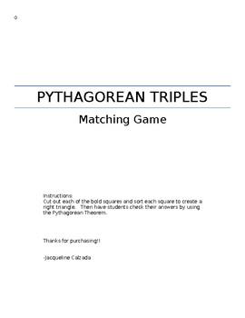 Pythagorean Triples Matching Game
