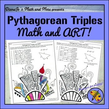 8th grade math pythagorean triples and art worksheet by dianajo 39 s math and more. Black Bedroom Furniture Sets. Home Design Ideas