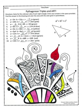 8th Grade Math Pythagorean Triples and Art Worksheet